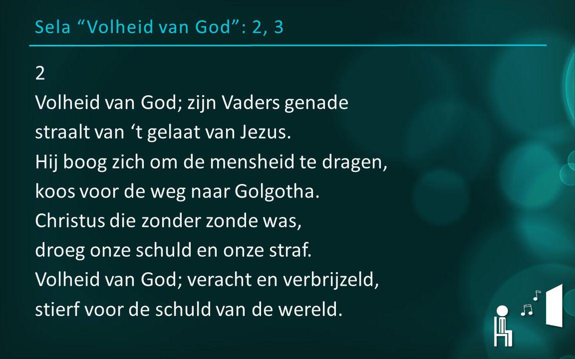Sela Volheid van God : 2, 3 2 Volheid van God; zijn Vaders genade straalt van 't gelaat van Jezus.