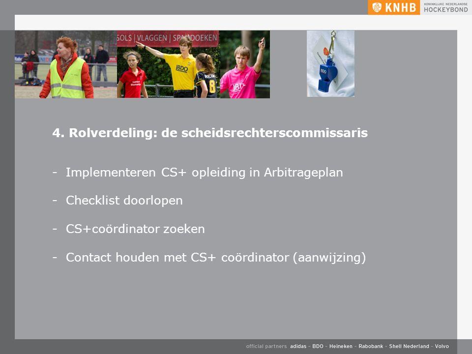 4. Rolverdeling: de scheidsrechterscommissaris -Implementeren CS+ opleiding in Arbitrageplan -Checklist doorlopen -CS+coördinator zoeken -Contact houd