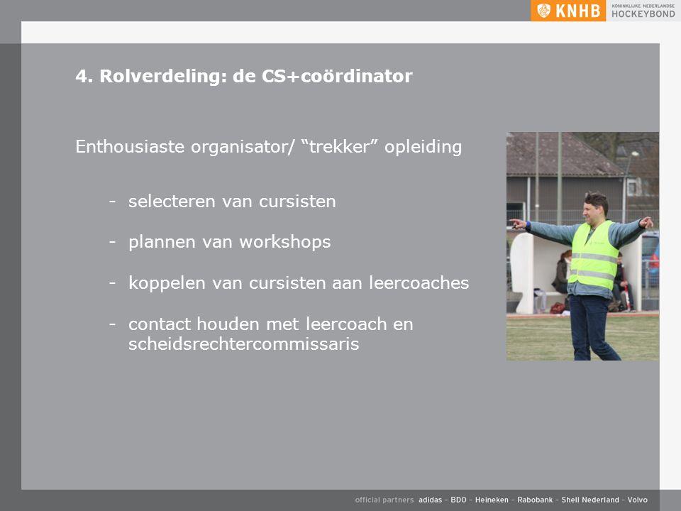 """4. Rolverdeling: de CS+coördinator Enthousiaste organisator/ """"trekker"""" opleiding -selecteren van cursisten -plannen van workshops -koppelen van cursis"""
