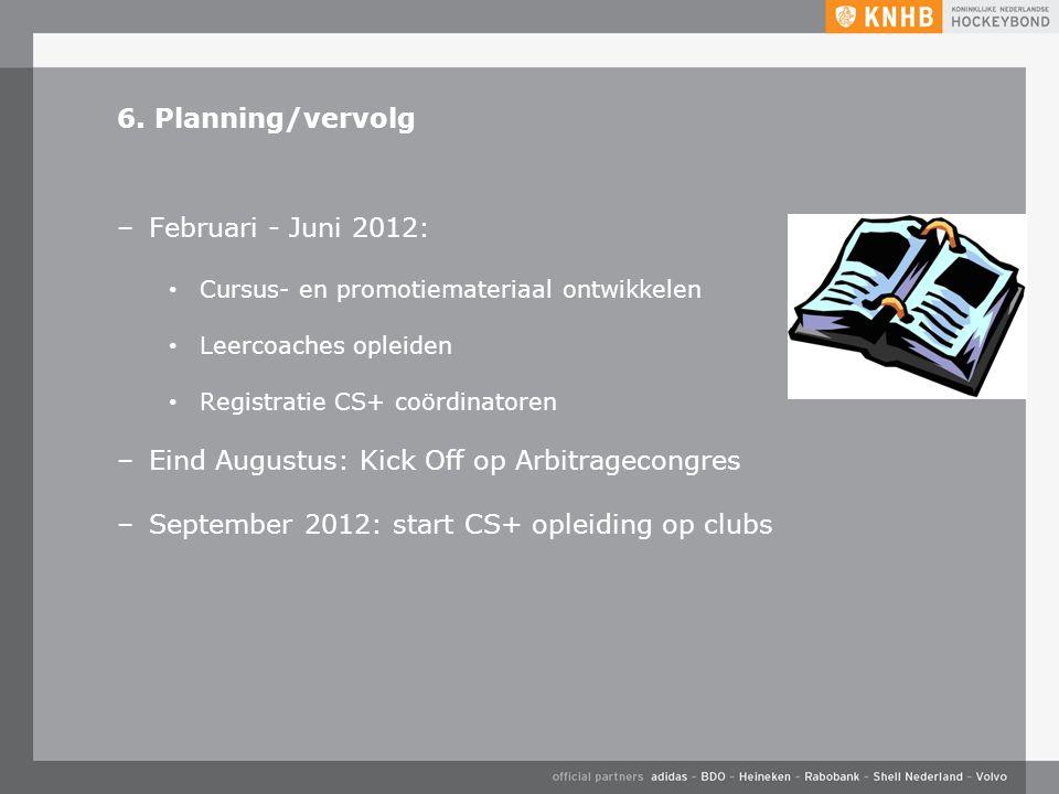 6. Planning/vervolg –Februari - Juni 2012: Cursus- en promotiemateriaal ontwikkelen Leercoaches opleiden Registratie CS+ coördinatoren –Eind Augustus: