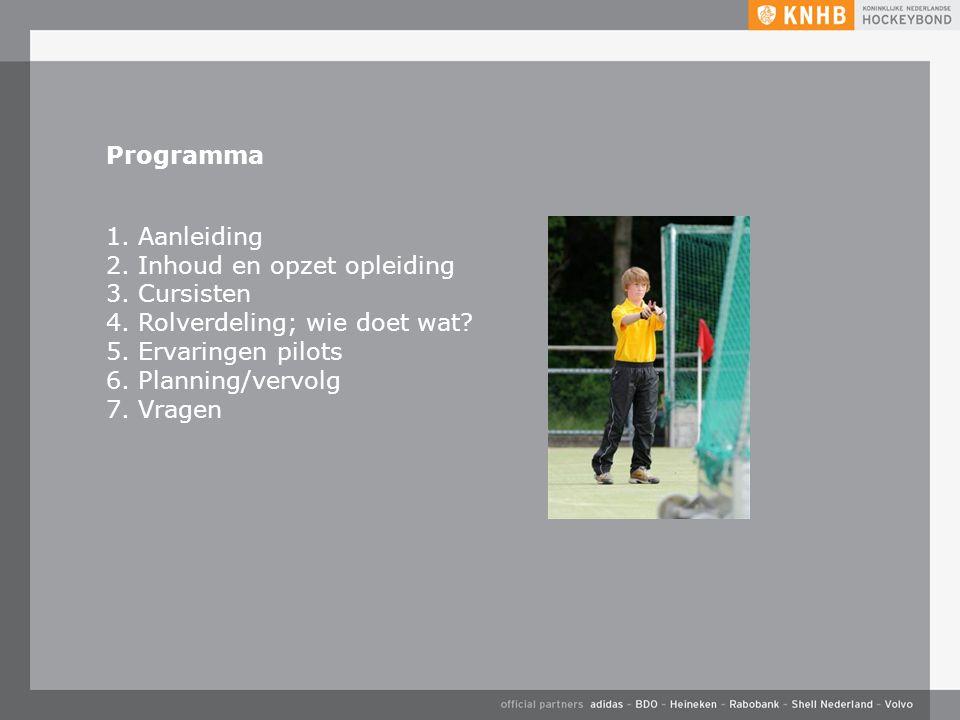 Programma 1. Aanleiding 2. Inhoud en opzet opleiding 3.