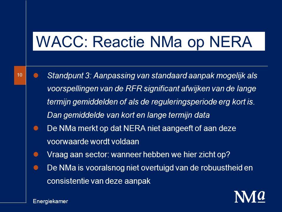 Energiekamer 10 WACC: Reactie NMa op NERA Standpunt 3: Aanpassing van standaard aanpak mogelijk als voorspellingen van de RFR significant afwijken van de lange termijn gemiddelden of als de reguleringsperiode erg kort is.