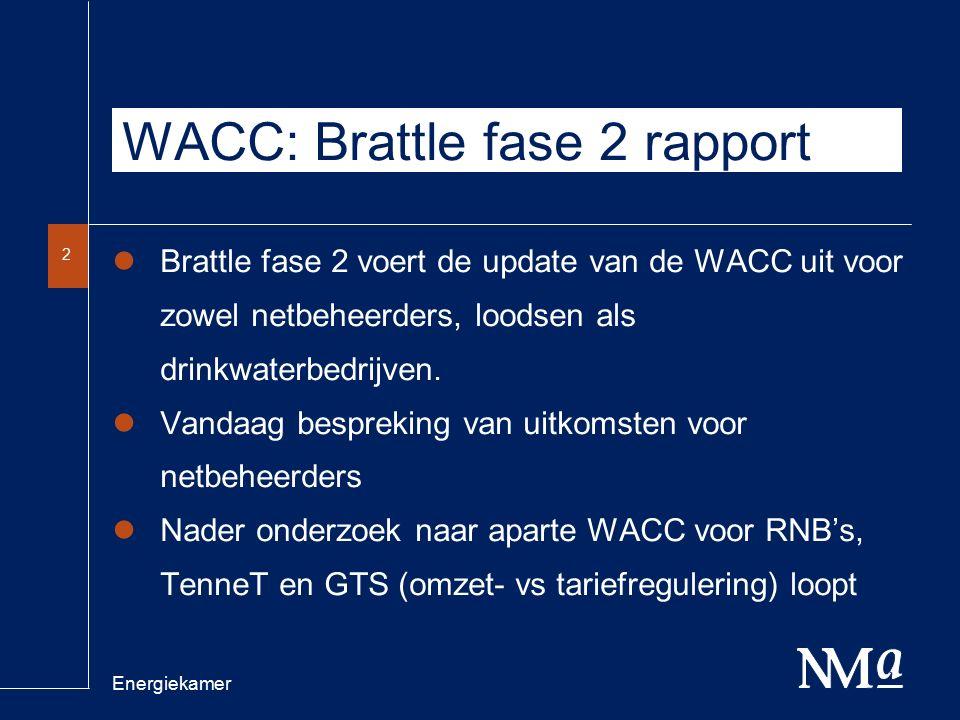 Energiekamer 3 WACC: Brattle fase 2 rapport RFR –3 jarige gemiddeldes: 2,7% voor Nederlandse obligatie en 2,6% voor Duitse obligatie.