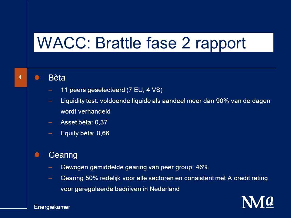 Energiekamer 4 WACC: Brattle fase 2 rapport Bèta –11 peers geselecteerd (7 EU, 4 VS) –Liquidity test: voldoende liquide als aandeel meer dan 90% van de dagen wordt verhandeld –Asset bèta: 0,37 –Equity bèta: 0,66 Gearing –Gewogen gemiddelde gearing van peer group: 46% –Gearing 50% redelijk voor alle sectoren en consistent met A credit rating voor gereguleerde bedrijven in Nederland