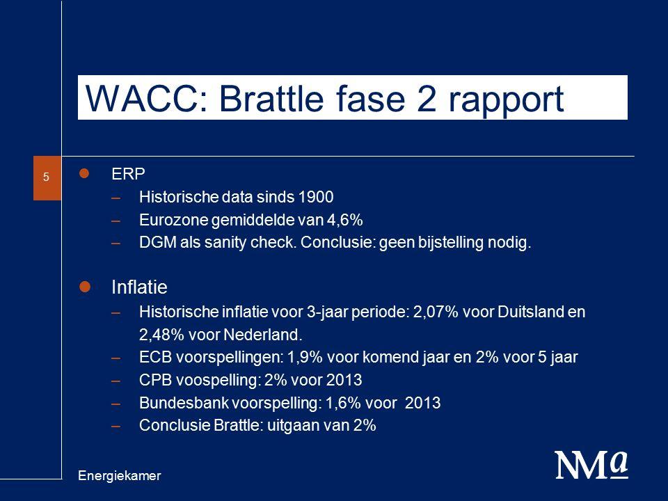 Energiekamer 6 WACC: NERA rapport NERA is door Netbeheer Nederland gevraagd om de methode van de NMa te onderzoeken NMa geeft vandaag voorlopige reactie op dit rapport De wijzigingen die de NMa voornemens is door te voeren voor de reguleringsperiode 2014+ zijn niet meegenomen in het NERA rapport Discussie op uitgangspunten, omdat NERA geen concrete WACC berekent