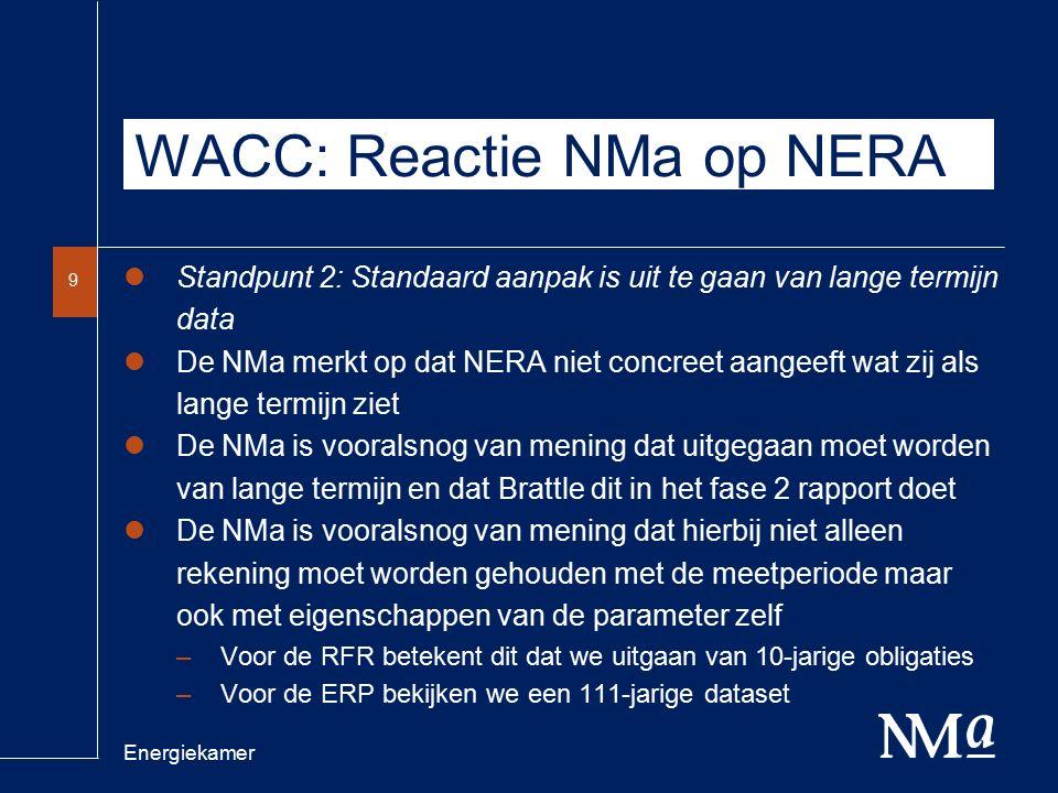Energiekamer 9 WACC: Reactie NMa op NERA Standpunt 2: Standaard aanpak is uit te gaan van lange termijn data De NMa merkt op dat NERA niet concreet aangeeft wat zij als lange termijn ziet De NMa is vooralsnog van mening dat uitgegaan moet worden van lange termijn en dat Brattle dit in het fase 2 rapport doet De NMa is vooralsnog van mening dat hierbij niet alleen rekening moet worden gehouden met de meetperiode maar ook met eigenschappen van de parameter zelf –Voor de RFR betekent dit dat we uitgaan van 10-jarige obligaties –Voor de ERP bekijken we een 111-jarige dataset