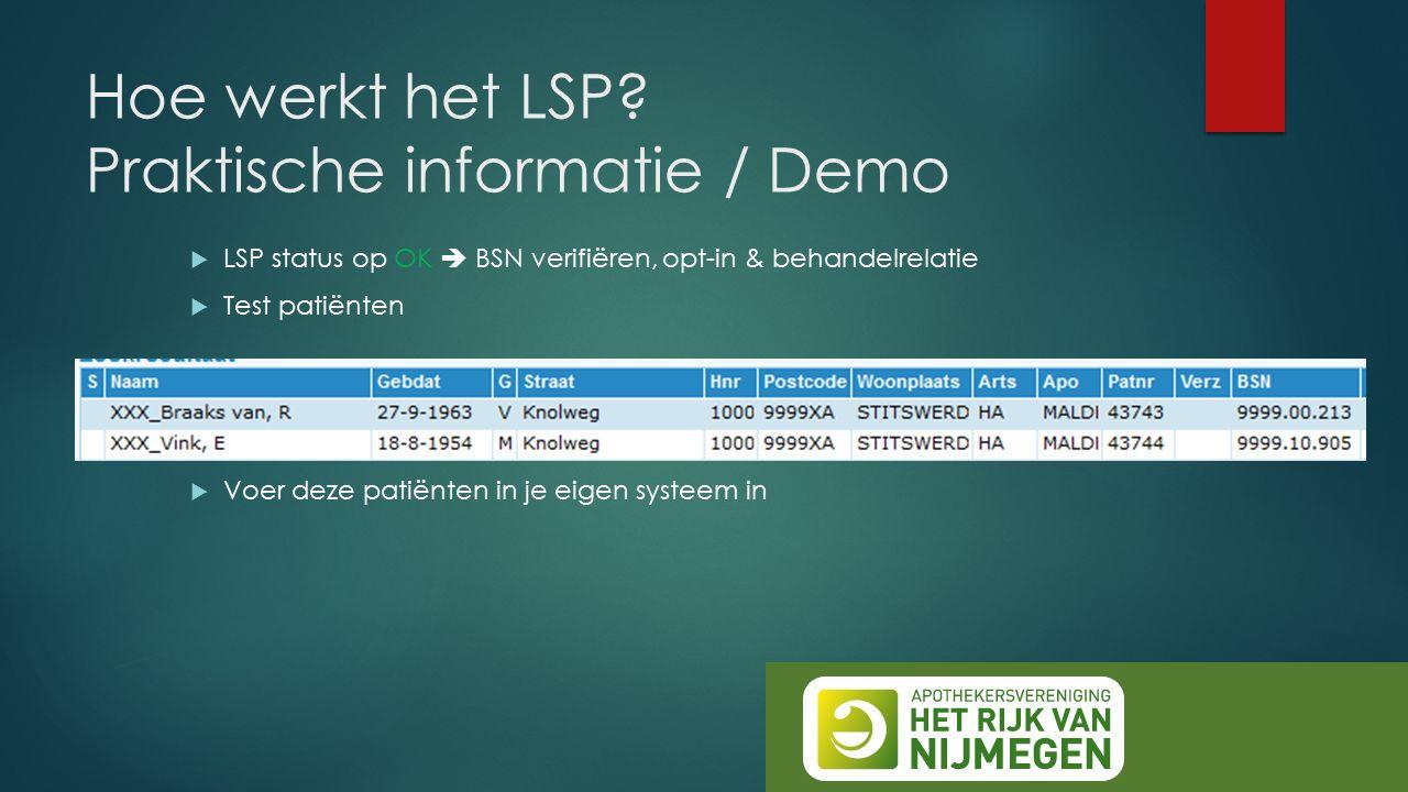 Hoe werkt het LSP? Praktische informatie / Demo  LSP status op OK  BSN verifiëren, opt-in & behandelrelatie  Test patiënten  Voer deze patiënten i