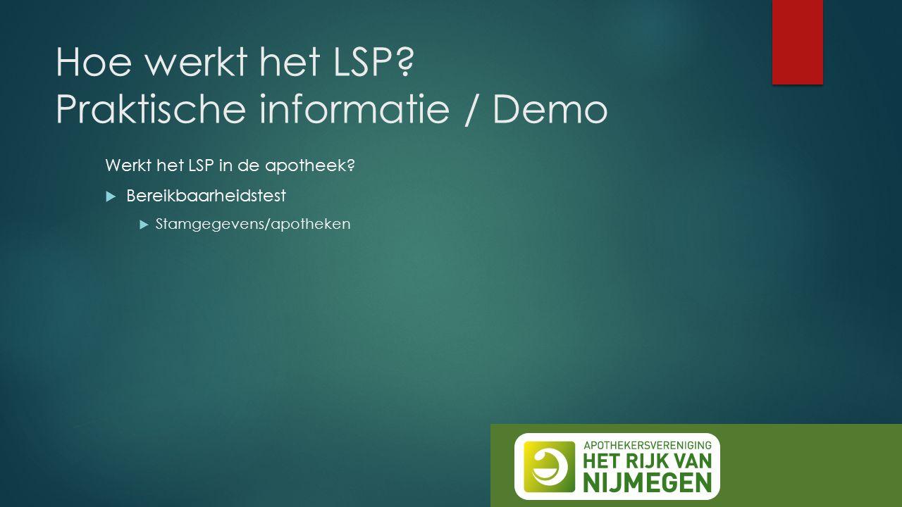 Hoe werkt het LSP? Praktische informatie / Demo Werkt het LSP in de apotheek?  Bereikbaarheidstest  Stamgegevens/apotheken