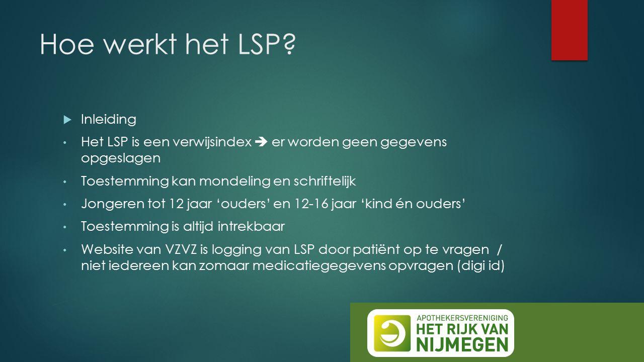 Hoe werkt het LSP.Praktische informatie / Demo Werkt het LSP in de apotheek.
