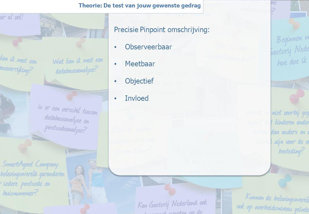 4 W Theorie: De test van jouw gewenste gedrag Precisie Pinpoint omschrijving: Observeerbaar Meetbaar Objectief Invloed