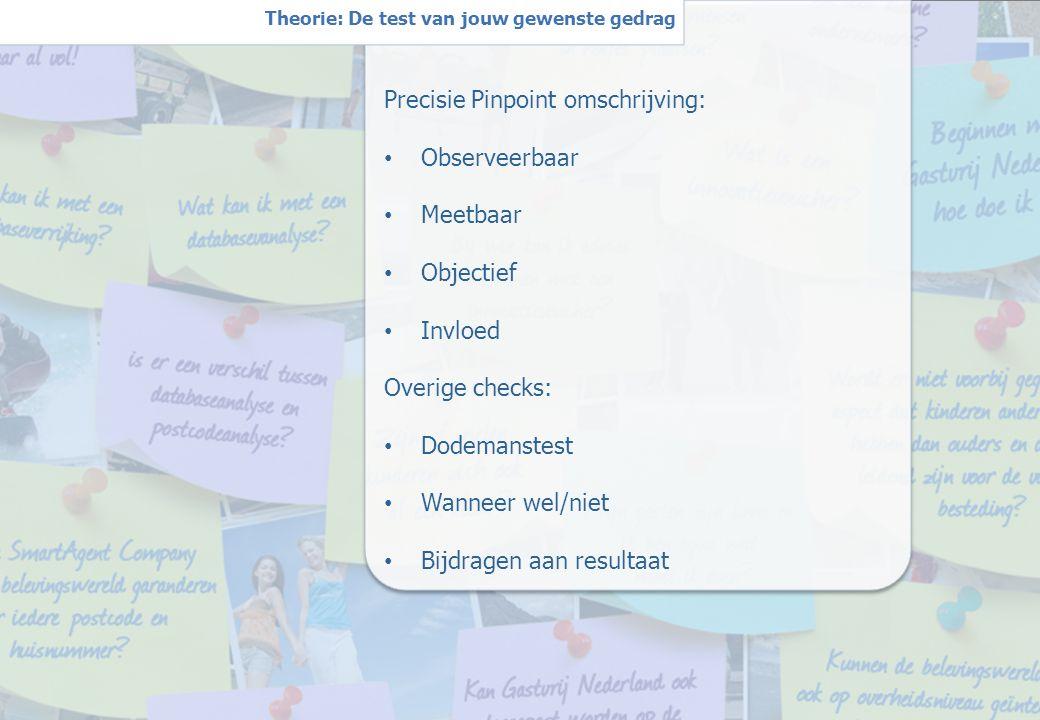 5 W Theorie: De test van jouw gewenste gedrag Precisie Pinpoint omschrijving: Observeerbaar Meetbaar Objectief Invloed Overige checks: Dodemanstest Wanneer wel/niet Bijdragen aan resultaat