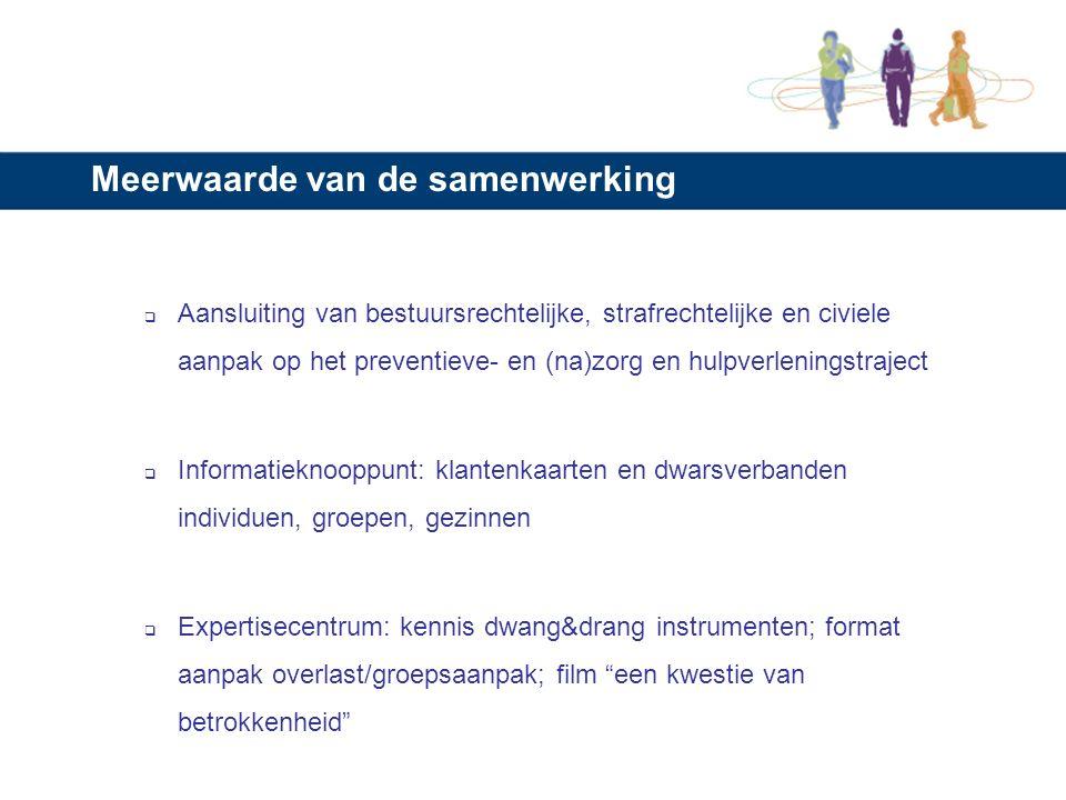 Cijfers (2009) Veelplegers: casussen besproken 391 stad Utrecht en 96 LS/RV Jeugd: 1381 zaken: 691 stad Utrecht en 690 LS/RV; Huiselijk Geweld: 506 nieuwe casussen besproken (stad Utrecht); Gezinnen: 5 gezinnen Groepen: 53 groepen waarvan 14 overlastgevend en crimineel -> 200 jongeren in VHU/risico-overleg wekelijks TOM-zittingen wekelijks OTP-zittingen Thema-zittingen PR