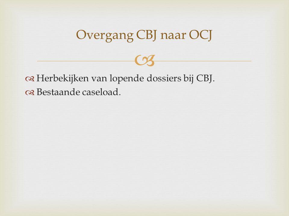  Overgang CBJ naar OCJ  Herbekijken van lopende dossiers bij CBJ.  Bestaande caseload.