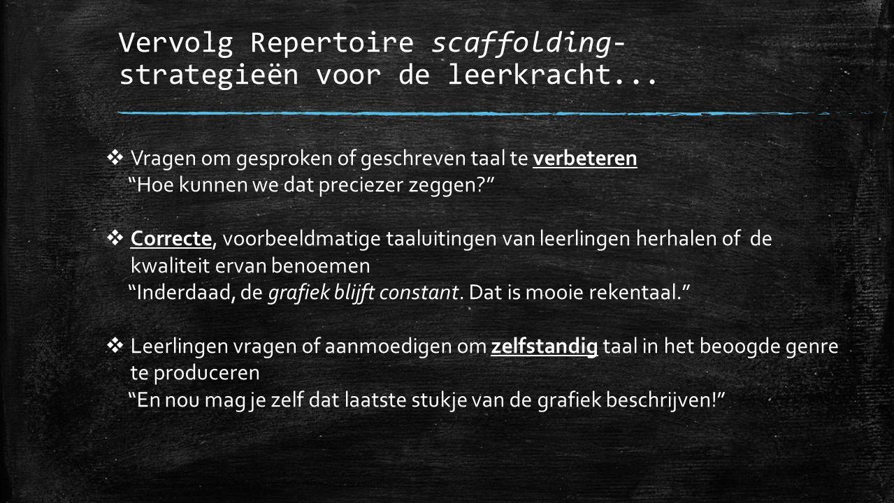 """Vervolg Repertoire scaffolding- strategieën voor de leerkracht...  Vragen om gesproken of geschreven taal te verbeteren """"Hoe kunnen we dat preciezer"""