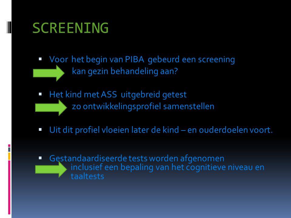 SCREENING  Voor het begin van PIBA gebeurd een screening kan gezin behandeling aan?  Het kind met ASS uitgebreid getest zo ontwikkelingsprofiel same