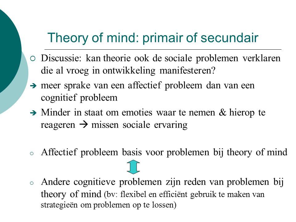 Theory of mind: primair of secundair  Discussie: kan theorie ook de sociale problemen verklaren die al vroeg in ontwikkeling manifesteren.