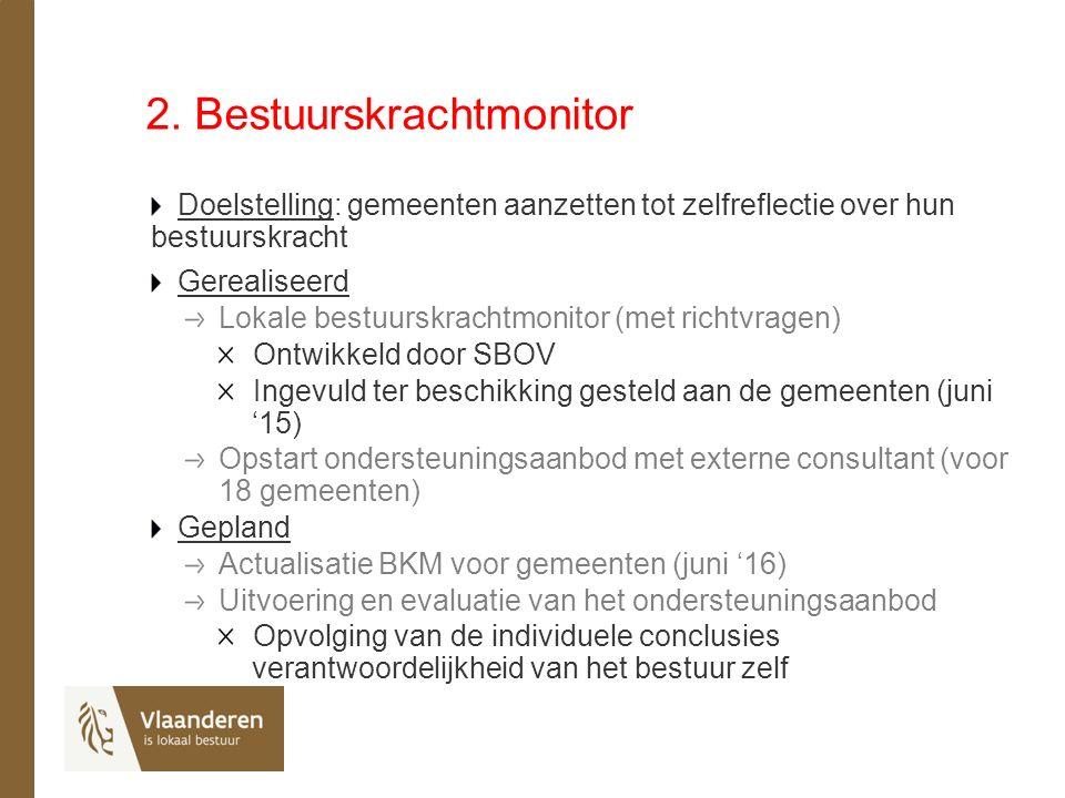 2. Bestuurskrachtmonitor Doelstelling: gemeenten aanzetten tot zelfreflectie over hun bestuurskracht Gerealiseerd Lokale bestuurskrachtmonitor (met ri