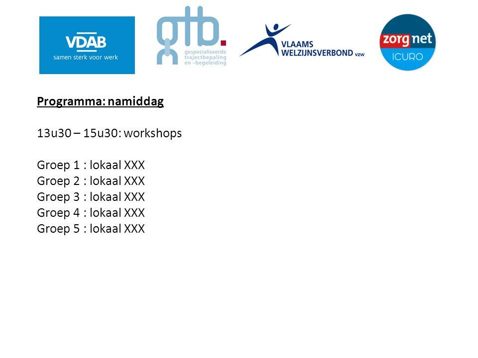 Programma: namiddag 13u30 – 15u30: workshops Groep 1 : lokaal XXX Groep 2 : lokaal XXX Groep 3 : lokaal XXX Groep 4 : lokaal XXX Groep 5 : lokaal XXX
