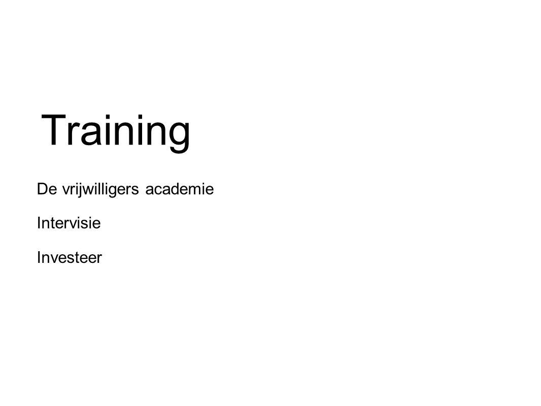 Training De vrijwilligers academie Intervisie Investeer