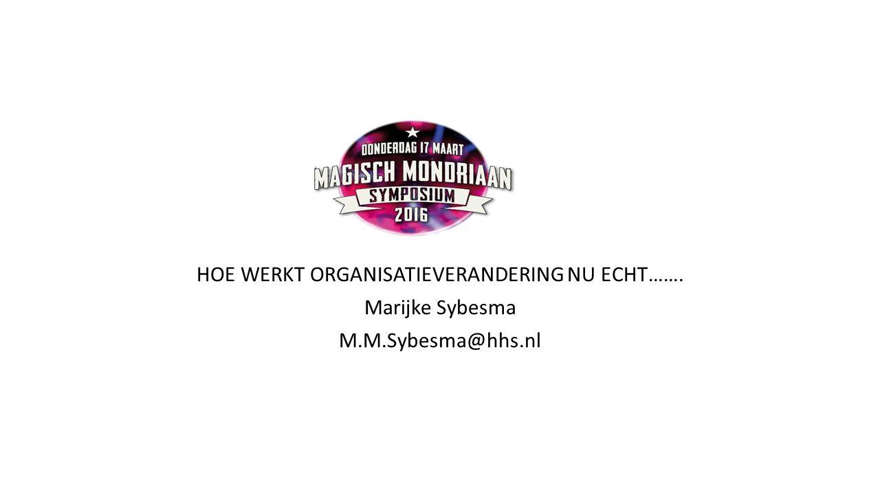 magie HOE WERKT ORGANISATIEVERANDERING NU ECHT……. Marijke Sybesma M.M.Sybesma@hhs.nl