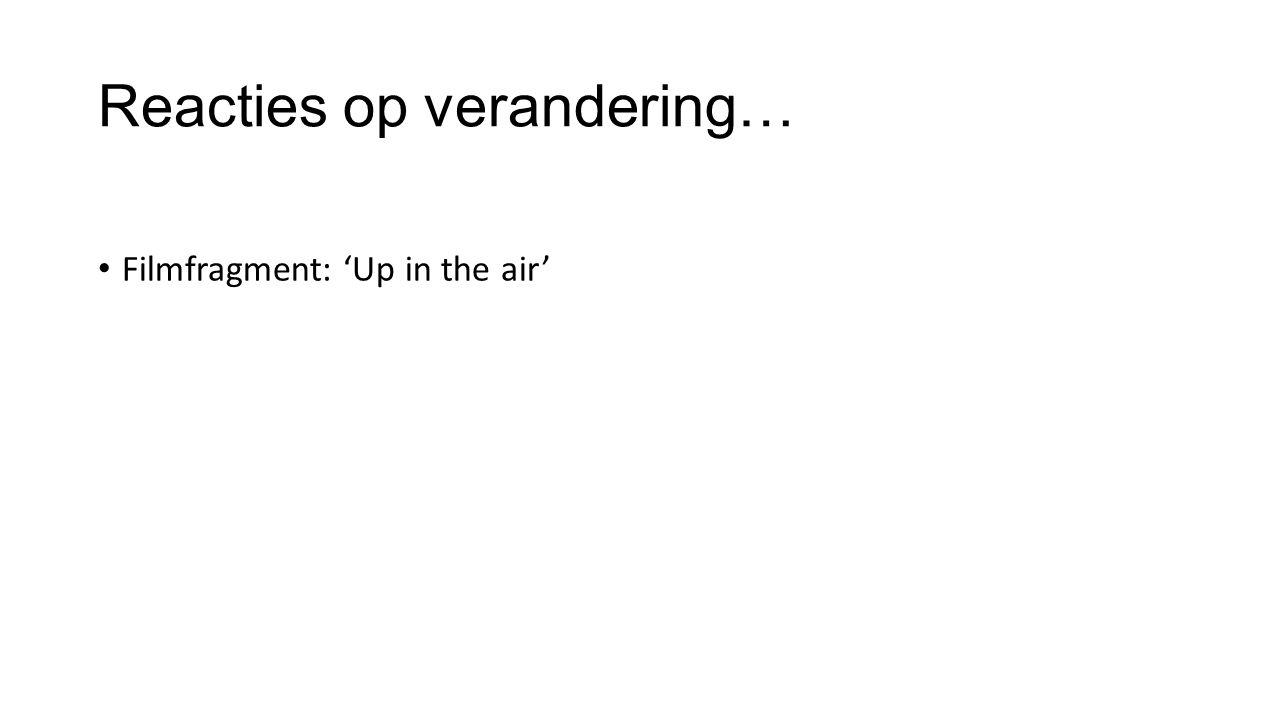 Reacties op verandering… Filmfragment: 'Up in the air'
