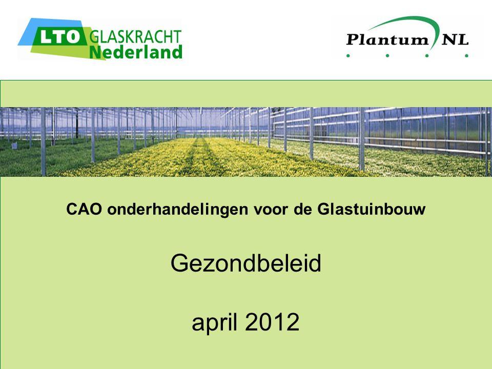 CAO onderhandelingen voor de Glastuinbouw Gezondbeleid april 2012