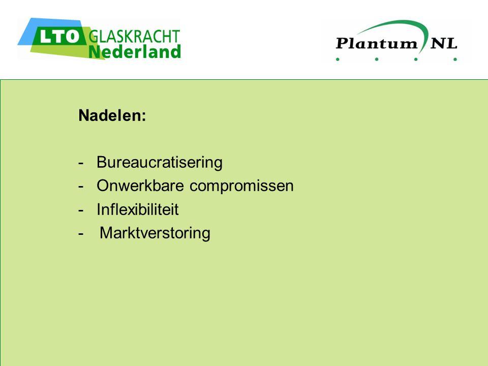 Nadelen: -Bureaucratisering -Onwerkbare compromissen -Inflexibiliteit - Marktverstoring