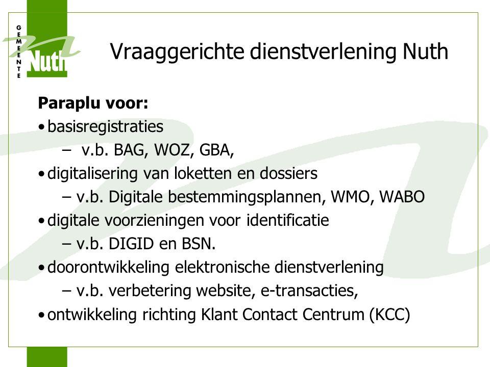 Vraaggerichte dienstverlening Nuth Paraplu voor: basisregistraties – v.b. BAG, WOZ, GBA, digitalisering van loketten en dossiers – v.b. Digitale beste