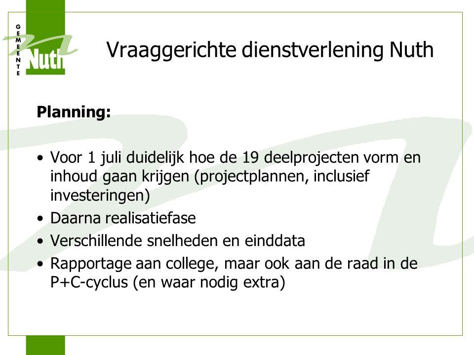 Vraaggerichte dienstverlening Nuth Planning: Voor 1 juli duidelijk hoe de 19 deelprojecten vorm en inhoud gaan krijgen (projectplannen, inclusief inve