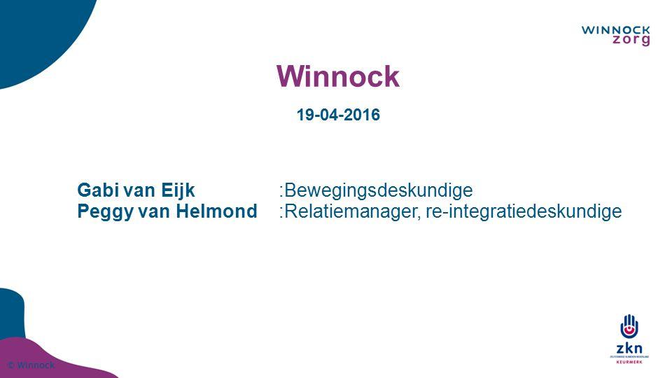 © Winnock Winnock Gabi van Eijk:Bewegingsdeskundige Peggy van Helmond:Relatiemanager, re-integratiedeskundige 19-04-2016