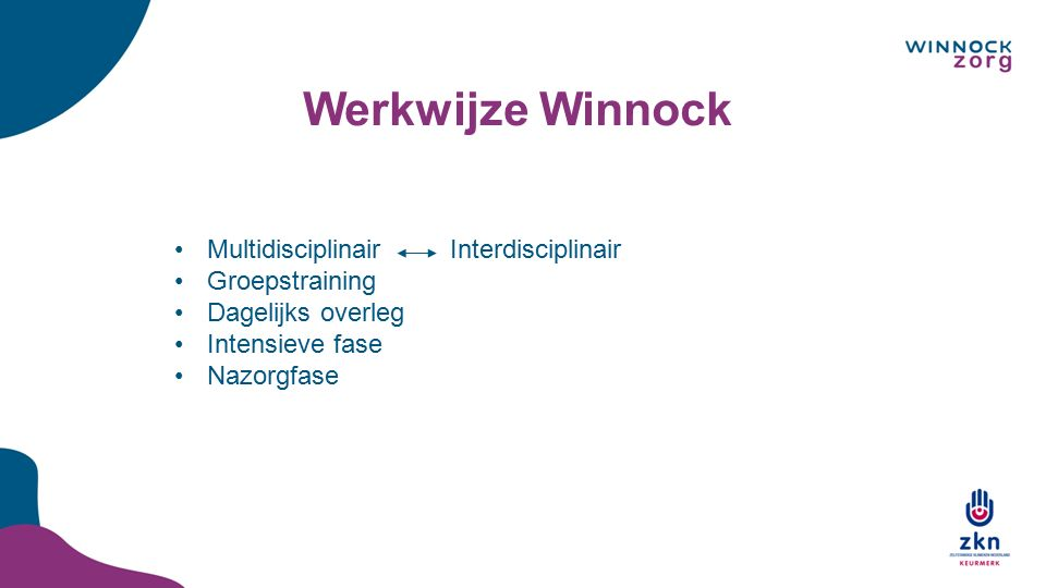 Werkwijze Winnock Multidisciplinair Interdisciplinair Groepstraining Dagelijks overleg Intensieve fase Nazorgfase