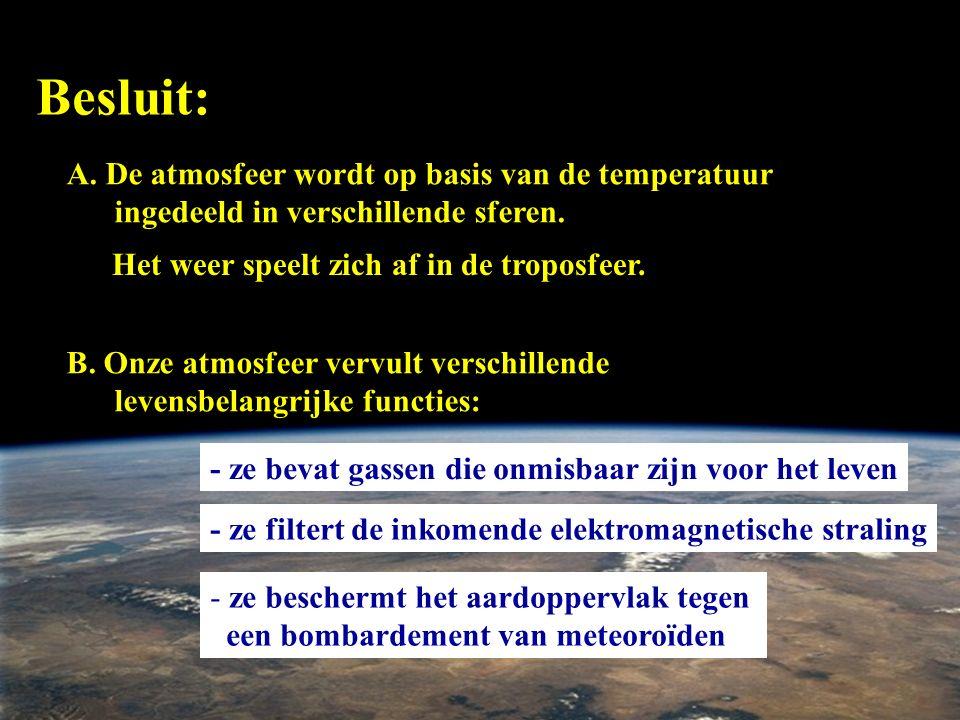 Besluit: A. De atmosfeer wordt op basis van de temperatuur ingedeeld in verschillende sferen. Het weer speelt zich af in de troposfeer. B. Onze atmosf