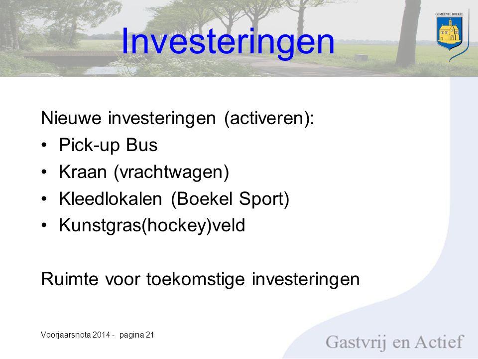 Nieuwe investeringen (activeren): Pick-up Bus Kraan (vrachtwagen) Kleedlokalen (Boekel Sport) Kunstgras(hockey)veld Ruimte voor toekomstige investeringen Voorjaarsnota 2014 - pagina 21 Investeringen