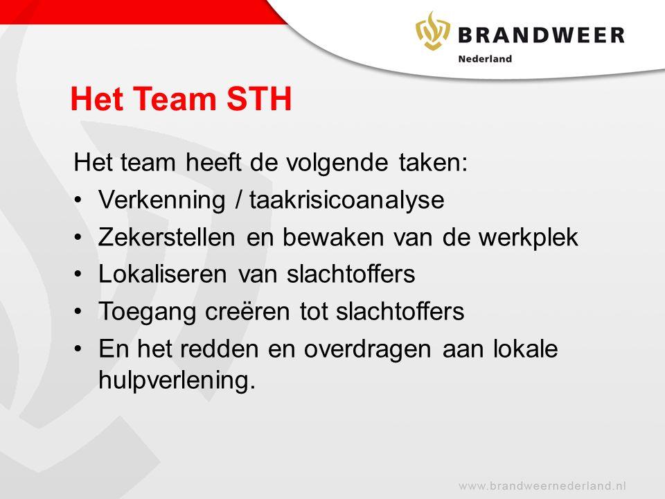 Het team heeft de volgende taken: Verkenning / taakrisicoanalyse Zekerstellen en bewaken van de werkplek Lokaliseren van slachtoffers Toegang creëren tot slachtoffers En het redden en overdragen aan lokale hulpverlening.