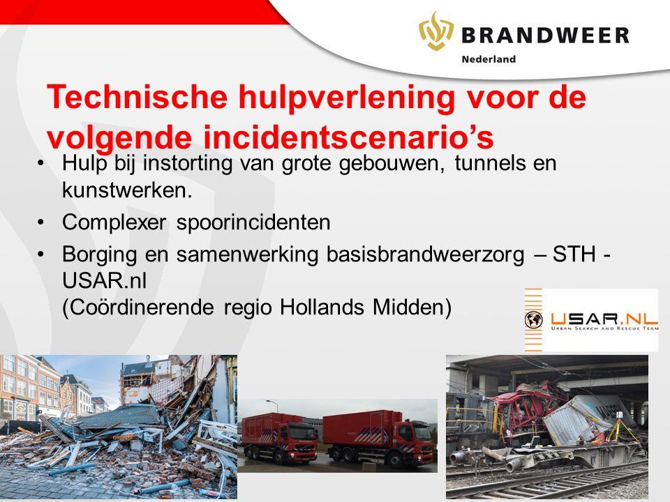 Technische hulpverlening voor de volgende incidentscenario's Hulp bij instorting van grote gebouwen, tunnels en kunstwerken.