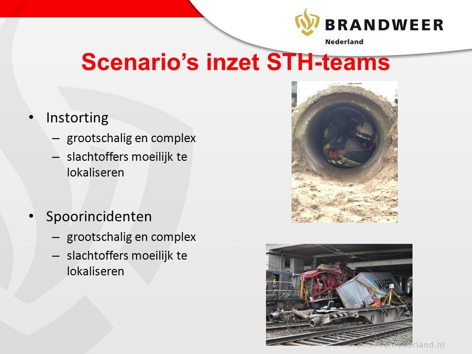 Scenario's inzet STH-teams Instorting – grootschalig en complex – slachtoffers moeilijk te lokaliseren Spoorincidenten – grootschalig en complex – slachtoffers moeilijk te lokaliseren