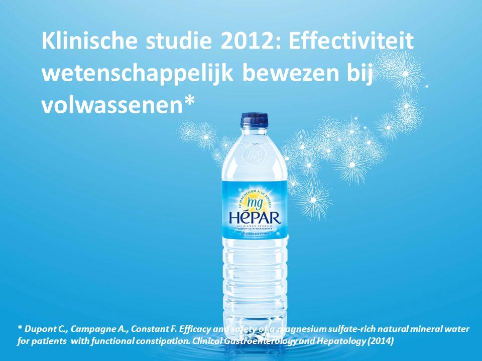 Klinische studie 2012: Effectiviteit wetenschappelijk bewezen bij volwassenen* * Dupont C., Campagne A., Constant F.