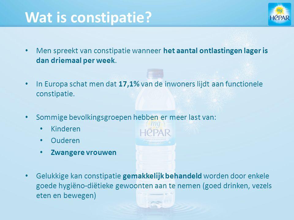 Conclusies klinische studie In deze studie wordt aangetoond dat Hépar een effectieve behandeling is tegen functionele constipatie, vanaf de 2 e week van de behandeling bij het drinken van 1L per dag.