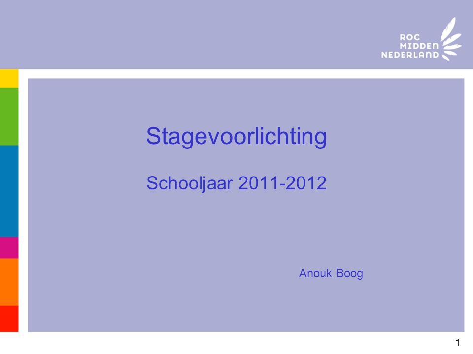 1 Stagevoorlichting Schooljaar 2011-2012 Anouk Boog