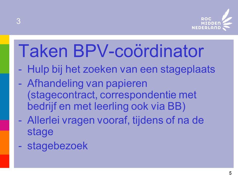 5 3 Taken BPV-coördinator -Hulp bij het zoeken van een stageplaats -Afhandeling van papieren (stagecontract, correspondentie met bedrijf en met leerling ook via BB) -Allerlei vragen vooraf, tijdens of na de stage -stagebezoek
