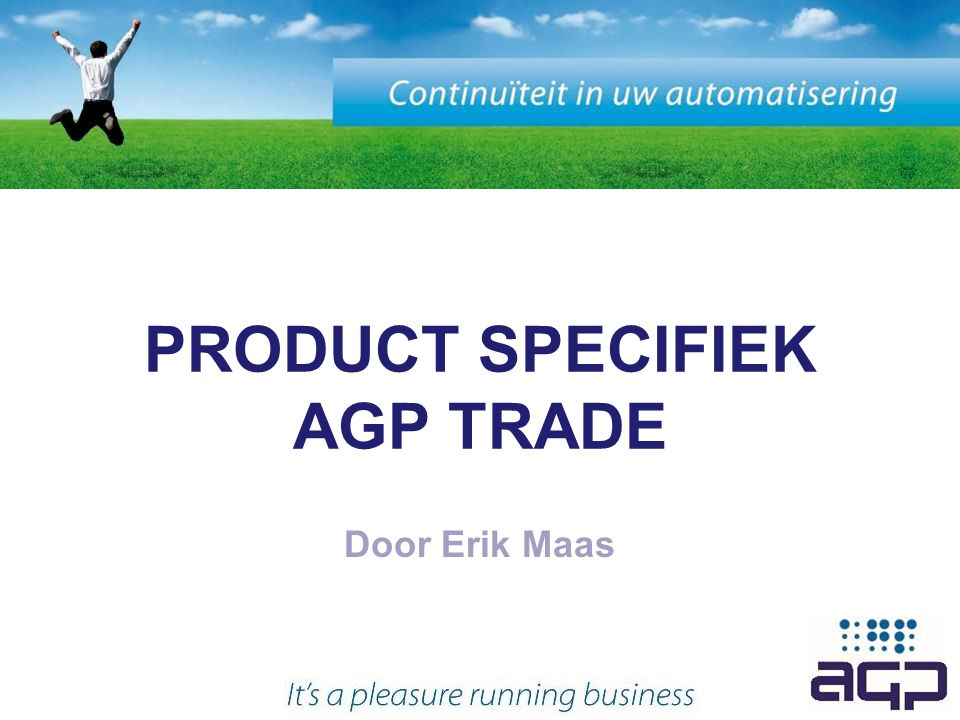 PRODUCT SPECIFIEK AGP TRADE Door Erik Maas
