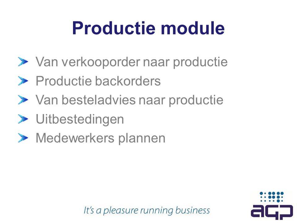 Productie module Van verkooporder naar productie Productie backorders Van besteladvies naar productie Uitbestedingen Medewerkers plannen