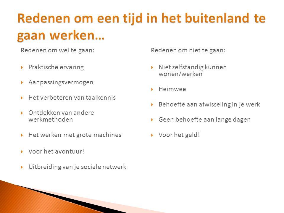  April-mei t/m november  Aardappeltelers, veehouderij, loonbedrijven, graanteelt  Visum quotum (600)  Veel traditionele Nederlandse bedrijven