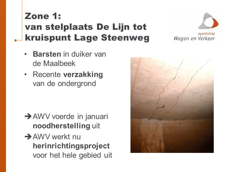 Zone 1: van stelplaats De Lijn tot kruispunt Lage Steenweg Barsten in duiker van de Maalbeek Recente verzakking van de ondergrond  AWV voerde in januari noodherstelling uit  AWV werkt nu herinrichtingsproject voor het hele gebied uit