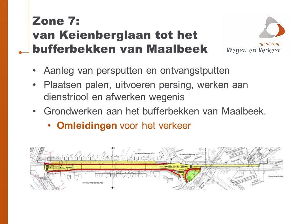 Zone 7: van Keienberglaan tot het bufferbekken van Maalbeek Aanleg van persputten en ontvangstputten Plaatsen palen, uitvoeren persing, werken aan dienstriool en afwerken wegenis Grondwerken aan het bufferbekken van Maalbeek.