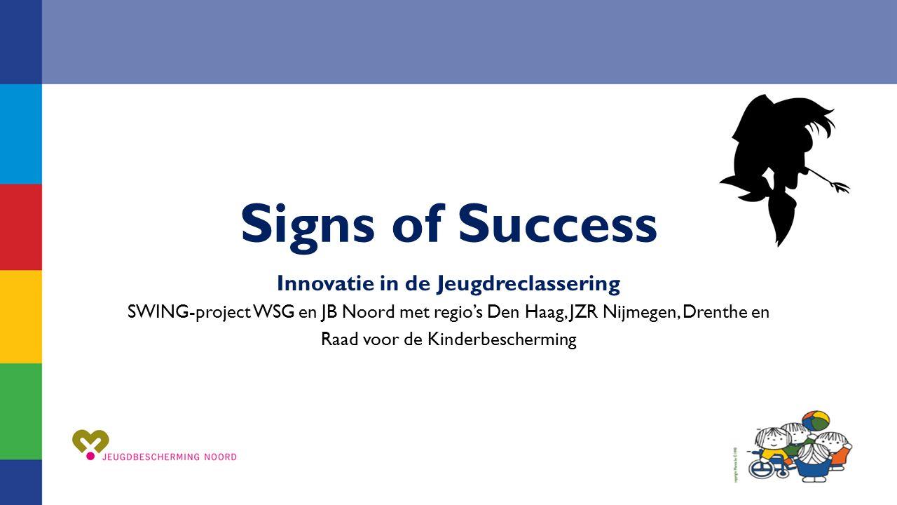 Signs of Success Innovatie in de Jeugdreclassering SWING-project WSG en JB Noord met regio's Den Haag, JZR Nijmegen, Drenthe en Raad voor de Kinderbes