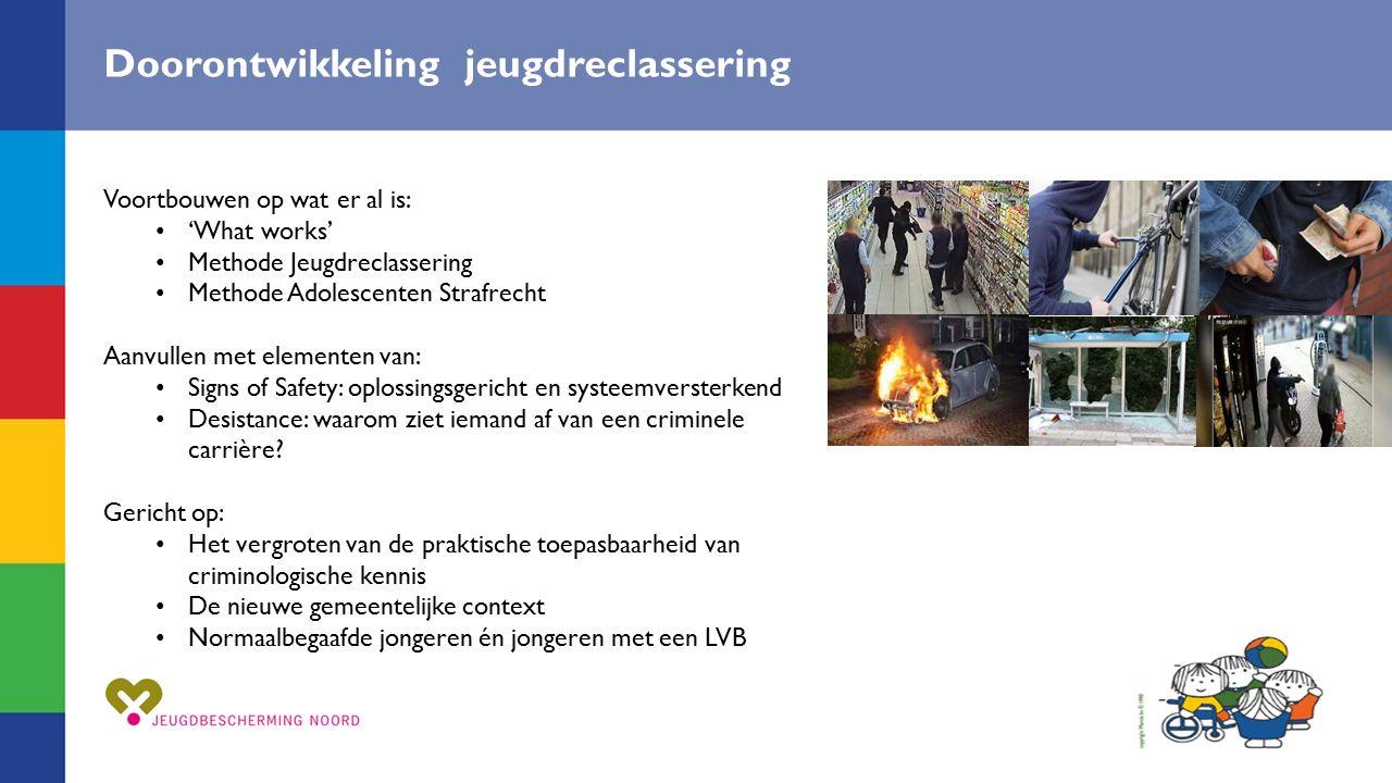 Doelen Signs of Success Toename effectiviteit van Jeugdreclassering, geïntegreerd in het gemeentelijk domein Ambities.