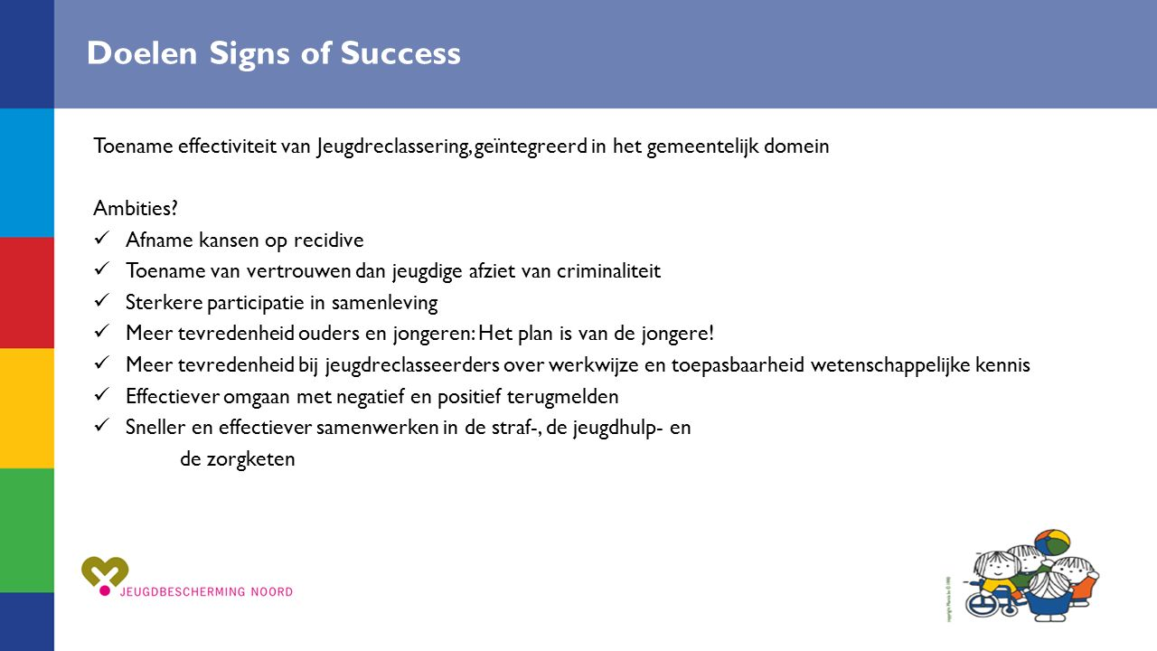 Doelen Signs of Success Toename effectiviteit van Jeugdreclassering, geïntegreerd in het gemeentelijk domein Ambities? Afname kansen op recidive Toena