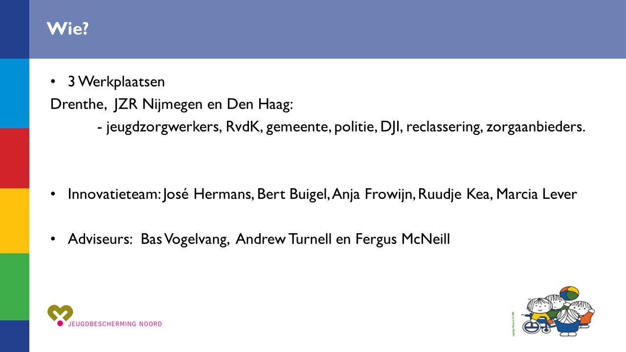 Wie? 3 Werkplaatsen Drenthe, JZR Nijmegen en Den Haag: - jeugdzorgwerkers, RvdK, gemeente, politie, DJI, reclassering, zorgaanbieders. Innovatieteam: