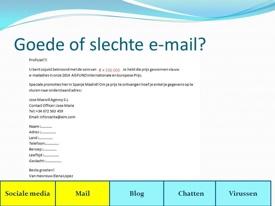 Goede of slechte e-mail? € 4 500 000 Sociale mediaMailBlogChattenVirussen